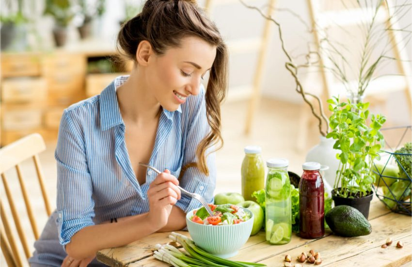 The woman eats leafy green foods only.